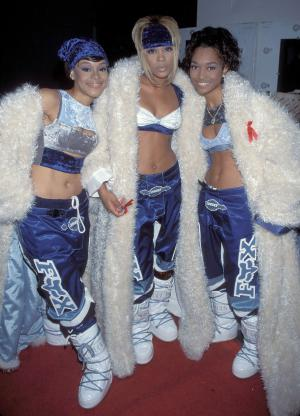 "TLC photographed during the American Music Awards. Lisa ""Left Eye"" Lopes was killed in a car crash in the Honduras April 25, 2002. (Photo by KMazur/WireImage)"
